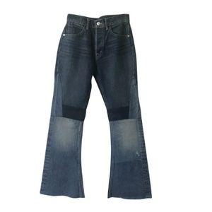 Helmut Lang Medium Wash Patchwork Flare Jeans